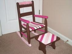 Rocking Chair Step Stool Set Childs Furniture Chocolate Pink Striped Wood…
