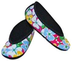 NuFoot Women's Shoes Ballet Flats Best Foldable and Flexible Travel and Exercise Slippers, Dance Shoes, Yoga Socks, Indoor Shoes, Pink Flowers, Small -- You can get more details by clicking on the image.