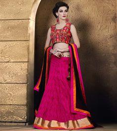 Magenta and black Patch border designer lehanga choli.Patch border work is done in lehanga choli. Raw Silk Lehenga, Pink Lehenga, Bridal Lehenga Choli, Netted Blouse Designs, Saree Blouse Designs, Indian Dresses, Indian Outfits, Bollywood Lehenga, Indian Clothes Online