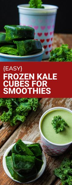 Frozen kale cubes for smoothies make breakfastime a breeze. Pre-puréed green cubes can be made ahead and ready to go in your green smoothie for a nutritional boost. #kale #kalerecipe #greensmoothie Kale Recipes, Vegan Recipes Easy, Plant Based Recipes, Dinner Recipes, Vegan Smoothies, Easy Smoothies, Smoothie Recipes, Bowl Recipe, Vegane Rezepte
