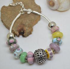 Bracelet perles de verre filé au chalumeau multicolore chaine serpentine : Bracelet par liloo-creations