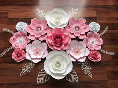 Beautiful Paper flower set in Pink, white and silver #Paper #papercraft #paperart #flower #Flowers #flowerstagram #wedding #weddings #event #events #party