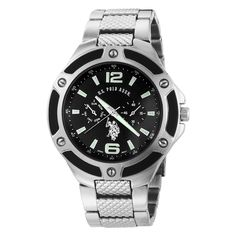 U.S. Polo Assn. Men's USC80039 Rimmed Bezel Black Dial Link Watch
