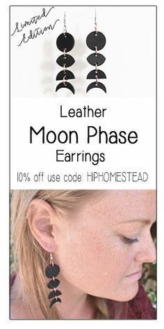 Limited Edition Black Leather Moon Phase Earrings - The Hip Homestead and Black Spruce Leather Collaboration . Galvanized Wall Planter, Diy Hanging Planter, Hanging Succulents, Succulent Gardening, Succulents Garden, Growing Succulents, Succulent Terrarium, Growing Goji Berries, Growing Blackberries