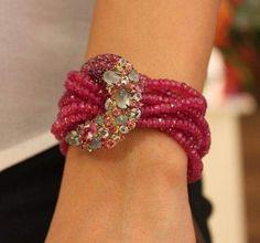 The matching ruby bracelet. Bead Jewellery, Beaded Jewelry, Jewelery, Handmade Jewelry, Dress Jewellery, Jewelry Crafts, Jewelry Art, Fashion Jewelry, Trendy Jewelry