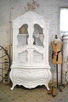 Painted Cottage Chic Shabby White Vintage French Armoire by {The Painted Cottages} I love the way they restore furniture! #PaintedFurniture #WhiteArmoire#ShabbyChic