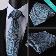"NeckTie - Blue Gold Floral 3.4"" Silk Necktie and Handkerchief Set  @runit365 #tie #hanky #classy"