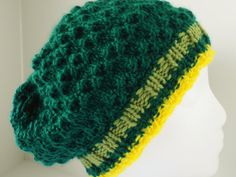 Hand knit green hat, green eyelet slouch, green tam hat $49.95