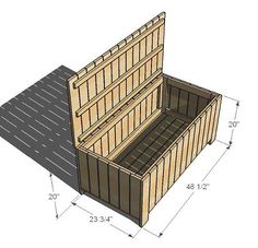 Outdoor storage bench DIY - use cedar, reverse orientation of pieces for lid