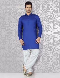 Festive wear plain blue cotton pathani suit Nigerian Men Fashion, Indian Men Fashion, Mens Fashion, Pathani For Men, Pathani Kurta, Gents Kurta Design, Designer Suits For Men, Royal Blue Color, Kurta Designs