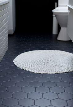 """black 4"""" hex floor tile"""