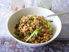 Garlicky Wholegrain Basmati Rice with Pak Choi, Black Eyed Beans and Shallots