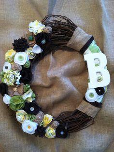 Felt flower wreath, burlap wreath, grapevine wreath, fabric flower wreath, green and yellow wreath, monogram wreath on Etsy, $38.00