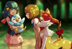 Dawn and Piplup with Serena and Braixen