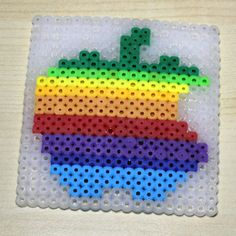 4 Perler Bead Coaster  1977 Apple Rainbow Logo by ShoaffsShapes