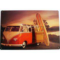 Cartel vintage motivo Van Orange. Chapa metálica decorativa de pared. Furgo Van Orange Split con aire surfero.