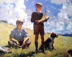 Great Painters Art Galleries: Frank Weston Benson Online Art Gallery: Two Boys