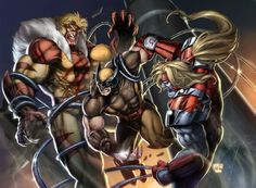 Age old battle between Wolverine, Sabretooth, Omega Red. Classic.