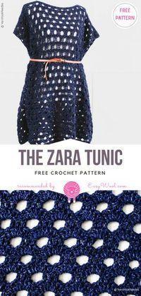 The Zara Tunic Free Crochet Pattern Crochet Tunic, Crochet Clothes, Free Crochet, Crochet Sweaters, Crochet Dresses, Crochet Stitches, Crochet Patterns, Crochet Summer Tops, Crochet Tops