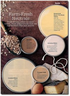 Paint Color Palette – Farm-Fresh Neuatral From buttery yellow to rustic brown, these pastoral hues walk the line in between color and neutral. Paint Colors: … LIKE CRACKED WHEAT Interior Paint Colors, Paint Colors For Home, Paint Colours, Interior Color Schemes, Interior Painting, Gray Interior, Interior Design, Wall Colors, House Colors
