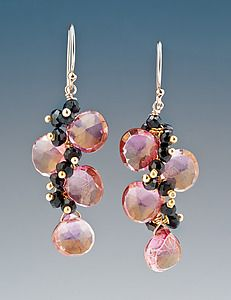 Pink Quartz and Onyx Earrings: Judy Bliss: Gold & Stone Earrings | Artful Home