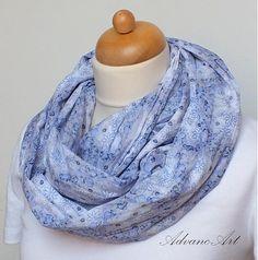Krčené modré kvietkovo by AdvancArt - SAShE.sk - Handmade Šály