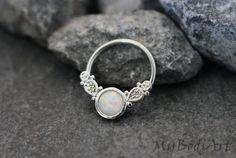 Septum Ring Opal Opal Septum Jewelry Daith Piercing by MyBodiArt