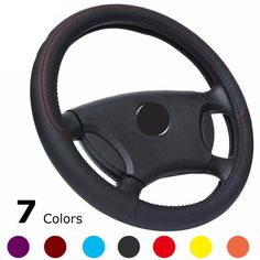 7 COLORS CAR LEATHER STEERING WHEEL SIZE 14.9INC(38CM) FOR VW,BMW,AUDI,TOYOTA,HONDA,CHEVROLET,FORD %95 CARS