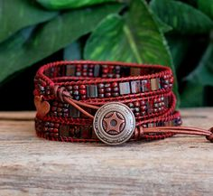 Hey, I found this really awesome Etsy listing at https://www.etsy.com/listing/223689343/tila-beaded-leather-wrap-red-miyuki-tila
