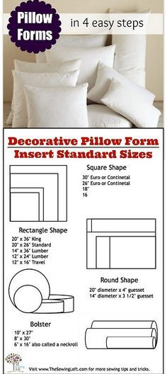 Pillow Form Insert Printable Size Chart Lofts Pillows And Easy