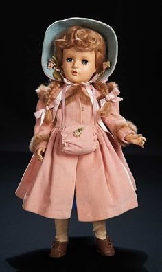 "View Catalog Item - Theriault's Antique Doll Auctions Sweet ""McGuffey Ana"" in Pink Corduroy Ensemble by Madame Alexander"