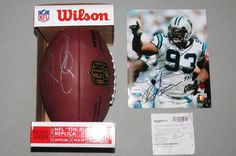 """Mike Rucker Autographed FOOTBALL 8x10 Photo Signed #93 Carolina Panthers NFL New This listing is for a """"Mike Rucker"""" (#93 Carolina Panthers) signed/autographed """"NFL The Duke"""" official game replica football AND a signed autographed official NFL 8X10 photo. Everything pictured is included!"""