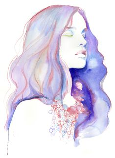 cate parr watercolor painting of woman #hippy #bohemian #themodcabin