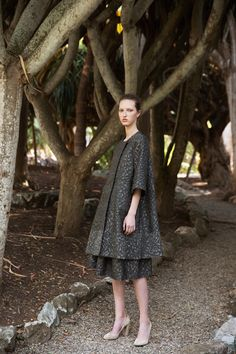 Designers Stephanie Danan and Justin Kern's L.A. roots are shining through in their pre-fall collection. There's definitely a more relaxed sensibility, to Co's usual polished, Victorian-inspired silhouettes, that we're crushing on. Big time. Beautifully tailored pieces with trumpet sleeves,
