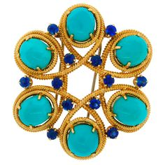 Pre-owned Van Cleef & Arpels Yellow Gold Turquoise Sapphire Pin Brooch Van Cleef Arpels, Van Cleef And Arpels Jewelry, Turquoise Jewelry, Gold Jewelry, Fine Jewelry, Jewelry Making, Jewellery, Jewelry Box, Antique Brooches