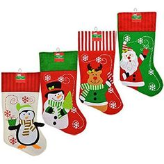 Set of 4 Pack Christmas House Polyester Christmas Character Stockings with Striped Cuffs 18 Inch * You can find out more details at the link of the image. (This is an affiliate link) #SeasonalDecor