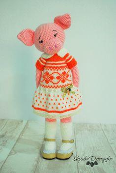 Świnka robiona szydełkiem, crochet pig, amigurumi pig