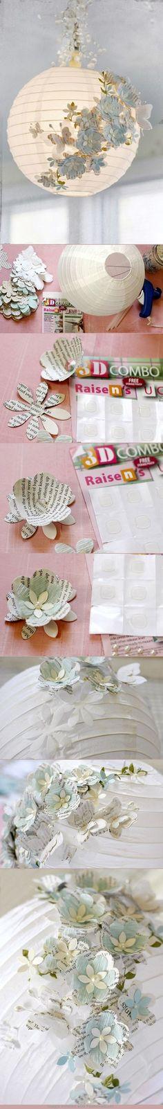 Como quedan de hermosas las linternas de papel con estas lindas flores. Muy fácil de hacer. Solo se necesita mucha imaginación :)