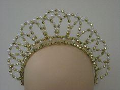 GOLD-SILVER-WHITE-PEARL-BEADED-Aura-TIARA-Ballet-Dance-Tutu-Headpiece-GOLD