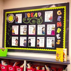 - teaching in high heels genre bulletin boards, bulletin board di Genre Bulletin Boards, School Bulletin Boards, New Classroom, Classroom Decor, Reading Genres, Reading Charts, Reading Specialist, Grades, 4th Grade Reading