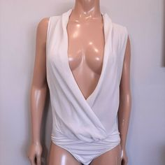 NWT Guess Marciano Silk Bodysuit Womens Large Sweet Grey Sleeveless Plunging #GUESS #Basic #PartyCocktail Bodysuit, V Neck, Silk, Grey, Sweet, Blouses, Shirts, Tops, Dresses