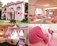 A Real Hello Kitty House! Holy Crap, I've died and gone to hello kitty heaven. Hello Kitty Haus, Chat Hello Kitty, Kitty Kitty, Tinkerbell, Pretty In Pink, Just In Case, Just For You, Pink Houses, Looks Cool