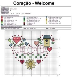 """Welcome"" cross stitch heart pattern"