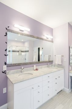 Bathroom remodels on pinterest photo galleries granite countertops and birch cabinets for Bathroom mirror with pull out storage