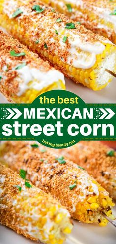 The best Mexican Street Corn you'll ever have! Baked then topped with cotija cheese and spices, this Elote doesn't disappoint. The perfect recipe to serve as an appetizer or side dish! Save this pin! Best Party Appetizers, Easy Appetizer Recipes, Easy Dinner Recipes, Delicious Recipes, Easy Recipes, Dinner Ideas, Picnic Side Dishes, Best Side Dishes, Dinner Dishes