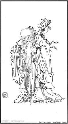 白描 神仙 寿星