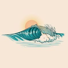 Creative Drawing Congratulations You are the Graphic Design Central pick of the day… - Ocean Drawing, Sun Drawing, Beach Drawing, Water Drawing, Drawing Art, Drawing Ideas, Art And Illustration, Ocean Art, Ocean Waves
