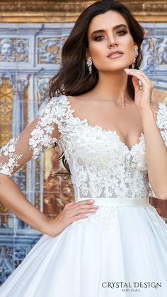 crystal design 2017 bridal half sleeves sweetheart neckline heavily embellished bodice princess wedding dress ball gown royal train (eleonor) zv