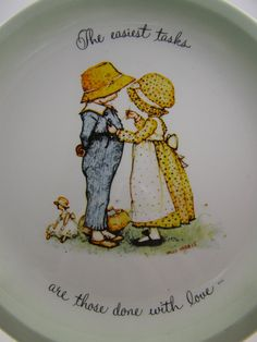 vintage Holly Hobbie decorative plate by pennycandyemporium2, mending a seam #sewing