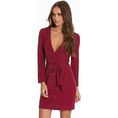Nly Trend Wrapped Sparkling Dress (330 DKK) via Polyvore featuring dresses, long sleeve stretch dress, red stretch dress, long sleeve sparkle dress, red sparkly dress and deep v neck dress